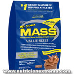 Up Your Mass - grandes ganancias en tamaño muscular y fuerza. MHP - Fórmula de Up Your MASS provee la precisa proporción 45/35/20 de macro nutrientes (carbohidratos, proteína, grasa)